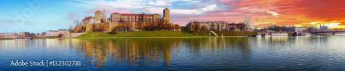 Famous landmark Wawel castle seen from Vistula at sunrise, Krakow, Poland Wallpaper Mural