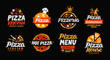 Pizza logo. Collection labels for menu design restaurant or pizzeria. Vector icons - 132303101