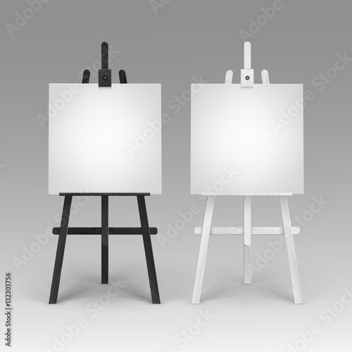 Vector Set of Wooden Black White Easels with Mock Up Empty Blank Square Canvases Wallpaper Mural