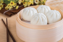 Steamed Buns In Bamboo Steamer...