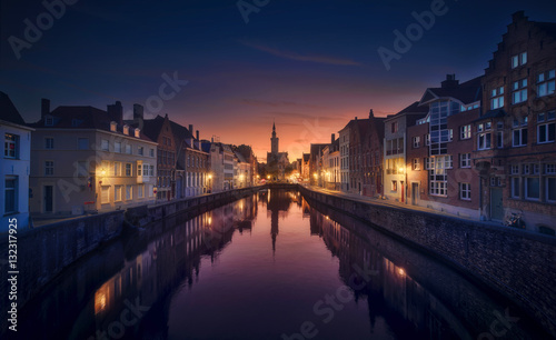 Printed kitchen splashbacks Bridges Brujas Sunset - Belgium