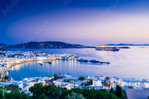 Beatiful twilight over Mykonos town, Mykonos island, Cyclades archipelago, Greece