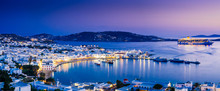 Panorama Of Mykonos Town In Sunset, Mykonos Island, Cyclades Archipelago, Greece