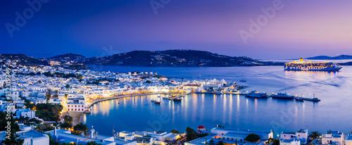 Poster de jardin Europe Méditérranéenne Panorama of Mykonos town in sunset, Mykonos island, Cyclades archipelago, Greece