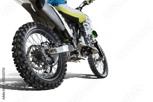 Dirt bike and rider isolated on white Canvas Print
