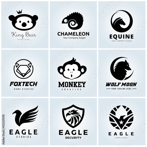 Animal Logo Collection Animal Head Symbol Eagle Logo Bear Logo