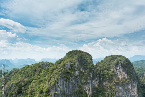 Spoed Foto op Canvas Khaki View of mountains and clouds in Krabi, Southern Thailand.