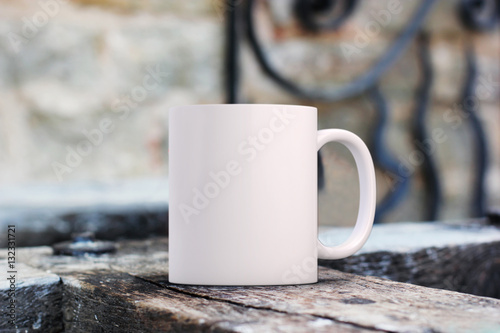 White blank coffee mug mock up to add custom design/quote.