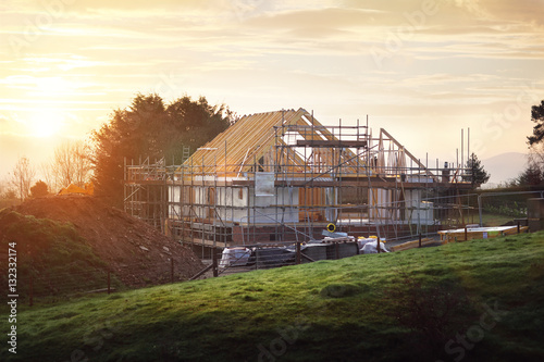 Building site with house under construction Canvas-taulu