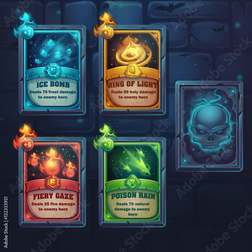 Photo Set spell cards of fiery gaze, poison rain, ice bomb, ring of li
