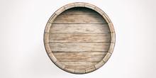 Wooden Barrel On White Backgro...
