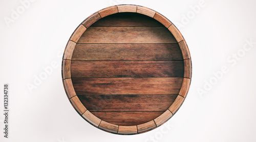 Wooden barrel isolated on white background. 3d illustration Wallpaper Mural