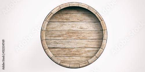 Cuadros en Lienzo Wooden barrel on white background. 3d illustration