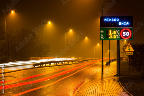 Obraz City at night, long exposure of headlights and taillights, Legnica, Poland - fototapety do salonu