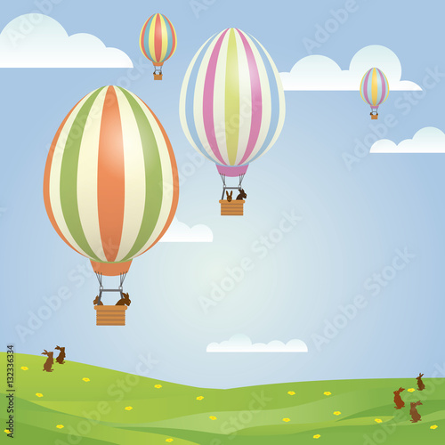Photo Stands Magic world Easter Greeting Card Illustration with easter bunnies in egg shaped hot air balloons