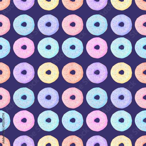 Cotton fabric Donut watrecolor seamless pattern