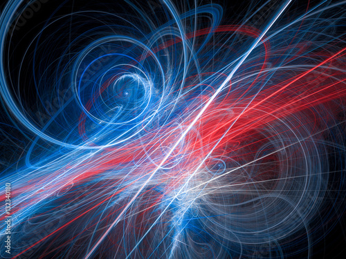 Fototapety, obrazy: Colorful glowing light lines and curves in space