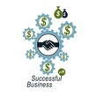 Successful Business creative logo, handshake agreement sign, vec