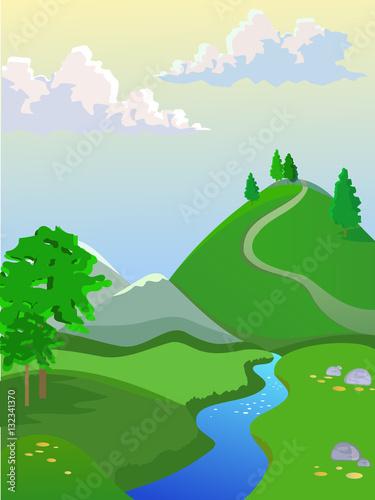 Fototapety, obrazy: Summer vector landscape. Landscape for browser games.
