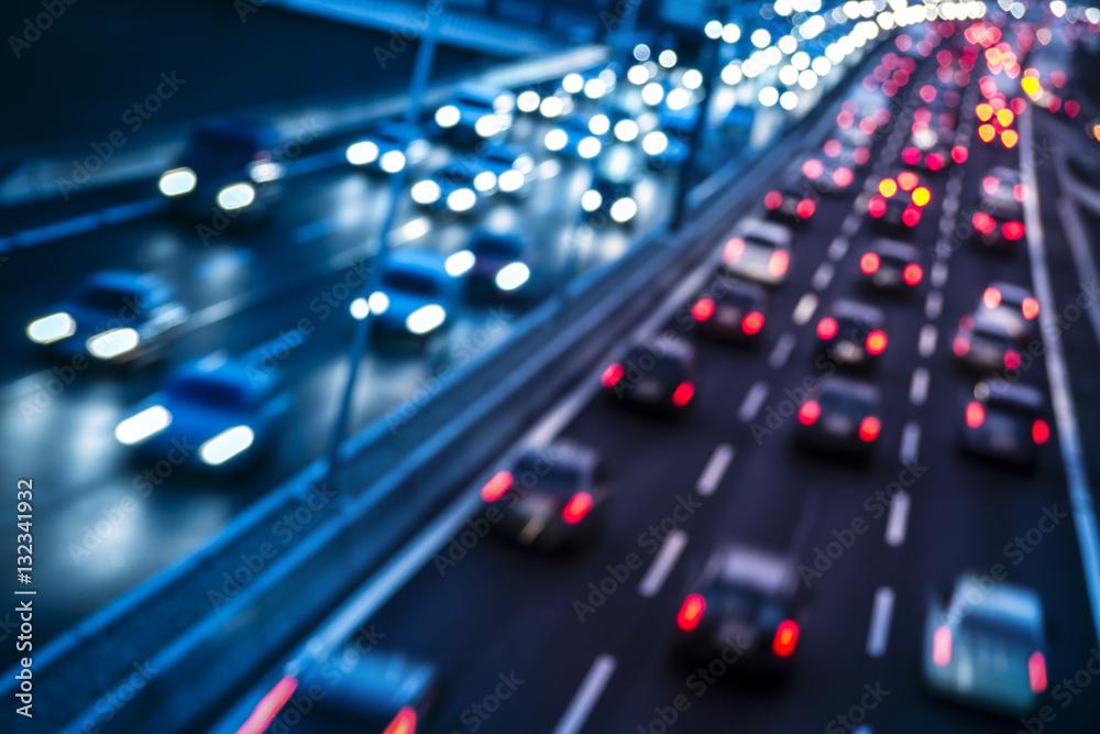 Fototapeta Autobahn mit unterschiedlichen Farben der Richtungen