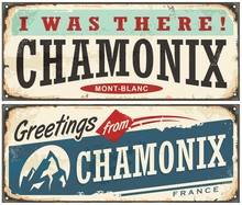 Chamonix Mont Blanc Retro Souvenir Sign Idea From One Of The Most Popular Winter Holiday Destinations
