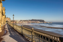 Looking Across Scarborough Beach In Yorkshire England