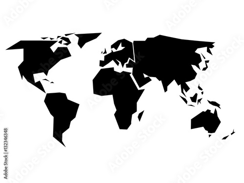World map silhouette - simplified black vector shape divided ... on world map with all continents, world map unlabeled, earth divided into continents, atlas divided into continents, world map of continents identified, names of continents, world map outline continents, simple map of continents,