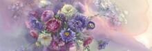 Violet Asters In Vase Watercol...