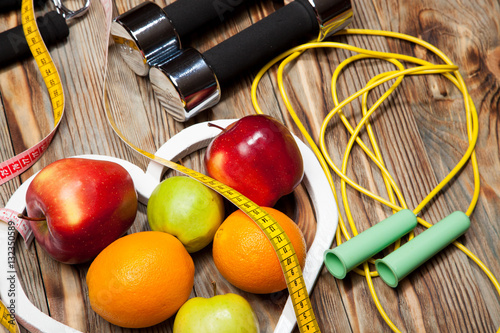 Fotografie, Obraz  Healthy food in heart and cholesterol diet concept on vintage boards