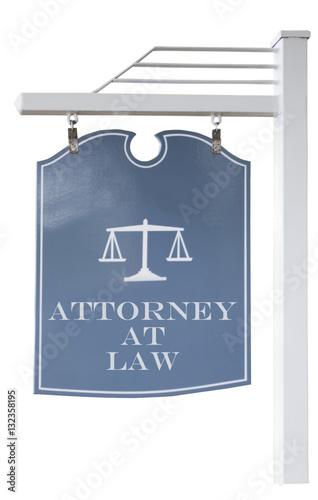 Fototapeta ATTORNEY AT LAW sign. Isolated. Vertical. obraz na płótnie