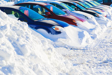 Winter Car Lot Buried In Snow.