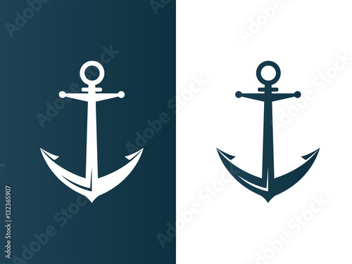 Anchor business modern logo silhouette ship - isolated vector illustration Wallpaper Mural