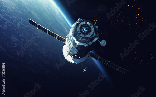 Tuinposter Heelal Spacecraft. Cosmic art, science fiction wallpaper. Beauty of deep space. Billions of galaxies in the universe. Elements of this image furnished by NASA