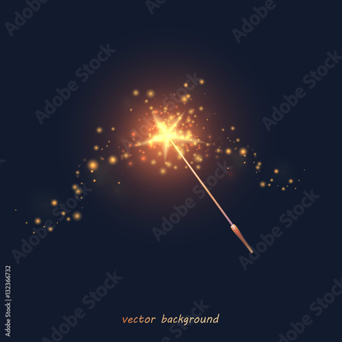 Fotografie, Obraz Vector illustration of a magic wand. Golden wand with a star