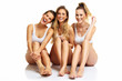 canvas print picture - Group of happy friends posing in underwear