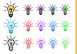 Linear idea icon for startup business in different colors. Vector elements for website, mobile application