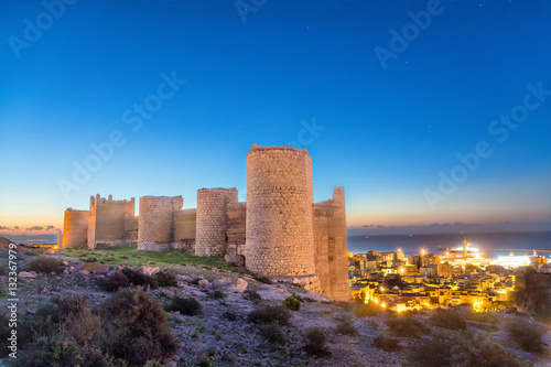 Medieval wall of Alcazaba on the hill, Almeria