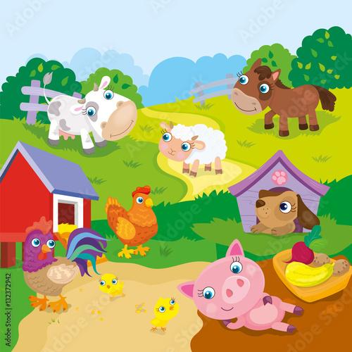 Canvas Prints Dinosaurs Cartoon Cute Farm Animals