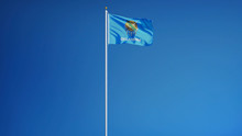 Oklahoma (U.S. State) Flag Waving Against Clear Blue Sky, Long Shot, Isolated With Clipping Path Mask Alpha Channel Transparency, Perfect For Film, News, Composition