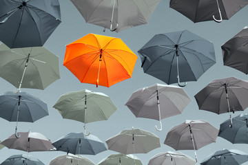 Concept of identity, character, personality and color. Bright orange outstanding  umbrella hanging among gray colorless umbrellas.