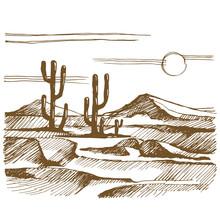 Vector Sketch America Landscape With Cactus