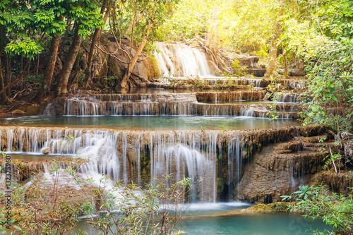Küchenrückwand aus Glas mit Foto Wasserfalle Huay Mae Kamin waterfall