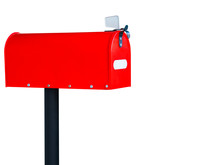 Red Mailbox Isolated On White Background.