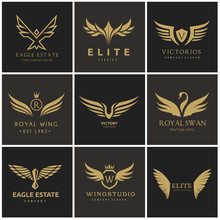 Bird And Wing Logo Collection. Eagle Logo And Wing Symbols,Bird Logo Set,Vector Logo Template