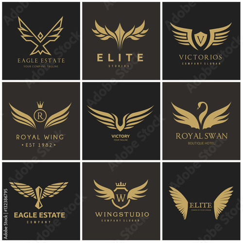 Bird and wing logo collection Wallpaper Mural