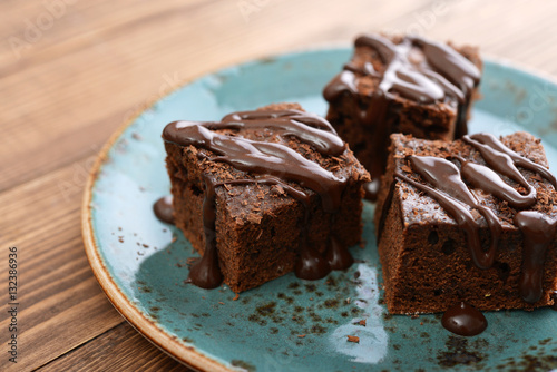 Tuinposter Dessert Homemade chocolate brownies
