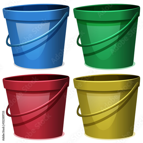 Four buckets of water in four colors Wall mural