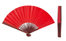 Red Chinese Folding Fan Isolat...