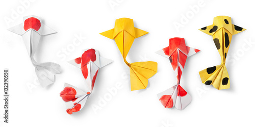 Fotografie, Obraz  handmade paper craft origami koi carp fish on white background.