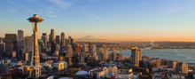 Seattle Skyline At Sunset With...